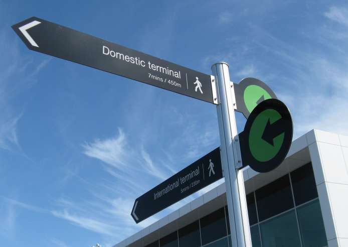 Auckland Airport Directional Post